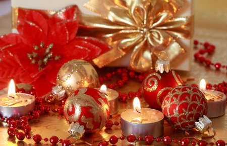 Christmas still life with candles in golden tone Stock Photo - 3745606