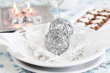 Christmas table setting in white and silver tone Stock Photo - 3850575