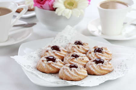 afters: Detail of delicious sweet biscuits with coffee