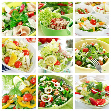 salads: Collage of different salads