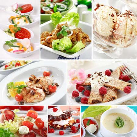 Mene collage - gourmet food menu from a restaurant