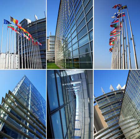 confederation: Collage - Building of European Parliament in Strasbourg (France)