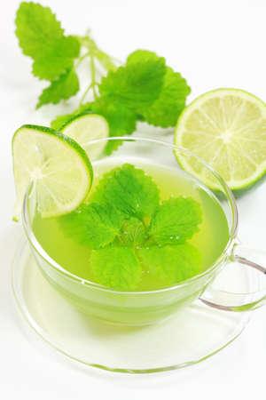 Herbal green tea with fresh mint and lemon Stock Photo - 4326349