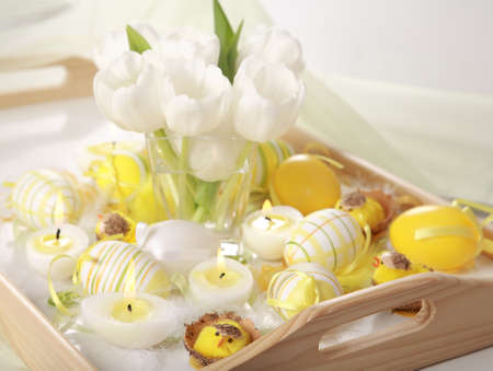 Easter detail with Easter eggs or spring motive photo