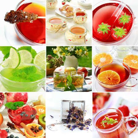 stimulate: Collage of natural herbal tea with fruits Stock Photo