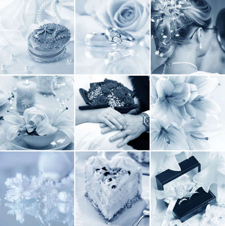 Beautiful collage of nine wedding motives in blue tone