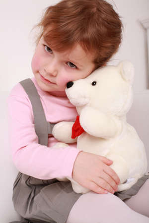 Portrait of cute cute little girl with teddy Stock Photo - 4797459