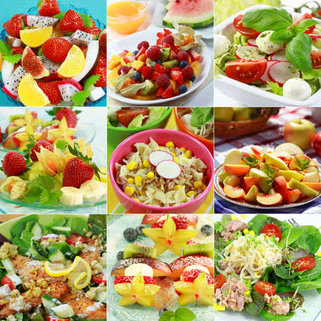 fruit salads: Different delicious vegetable and fruit salads Stock Photo