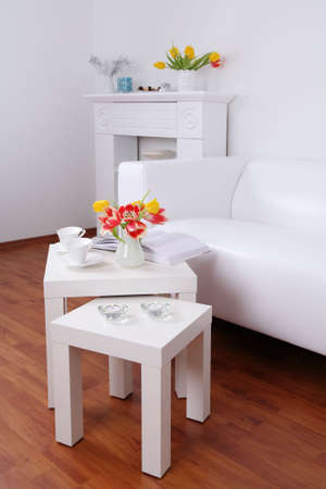 home decor: Time for relaxing and reading - home interior in white tone