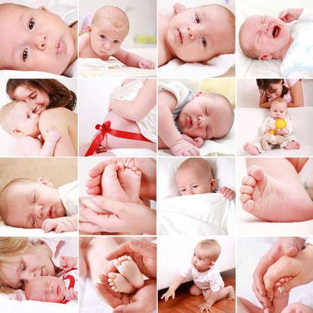 bebes recien nacidos: Collage de diferentes fotograf�as de los beb�s y los momentos familiares