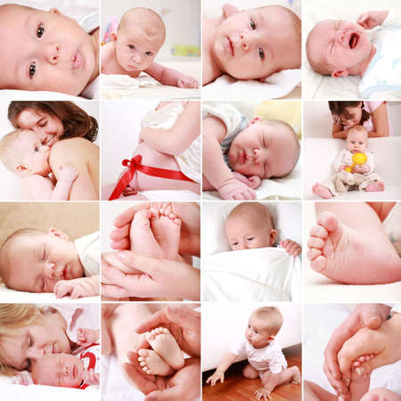 Collage of different photos of babies and family moments photo