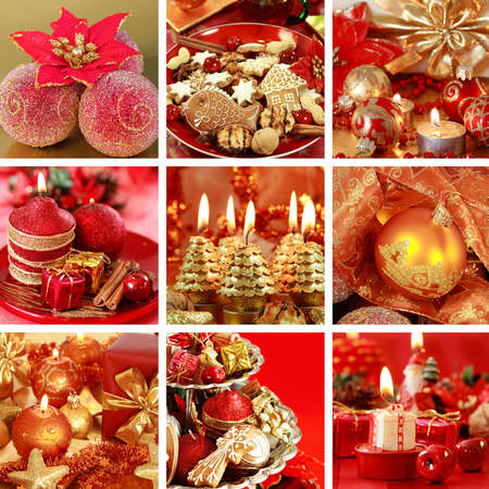 Collection of nine still live photos for Christmas in red tone photo