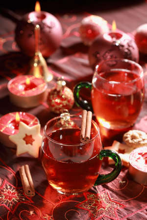 Hot drink for Christmas with delicious cookies photo