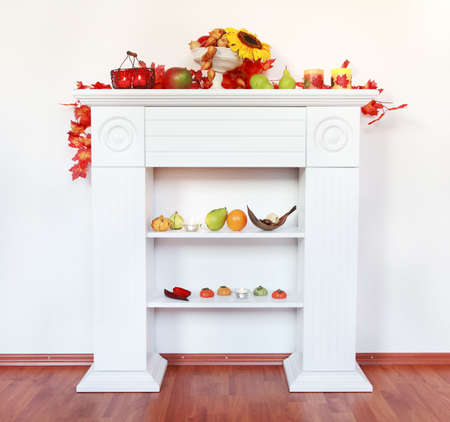 Home interior - decoration of sideboard for Thanksgiving with copyspace photo