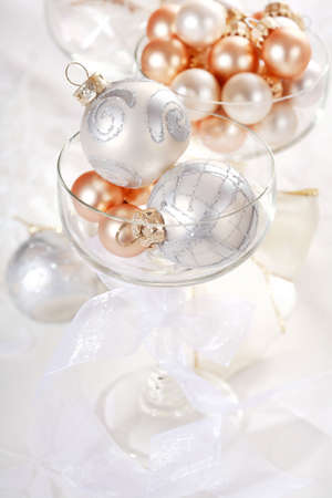 Detail of Christmas balls with candles in red tone Stock Photo - 5570693
