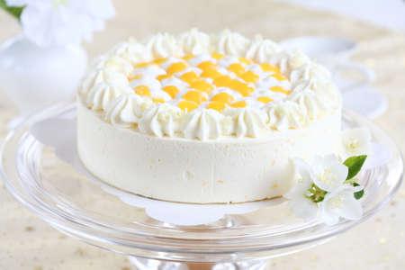 piece of cake: Delicious yogurt cake with oranges and cream Stock Photo