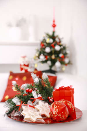 Christmas decoration with small gingerbread and tree at home Stock Photo - 5884483