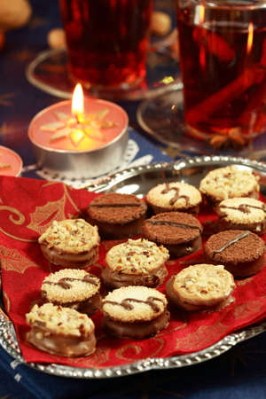 Still life with delicious Christmas cookies photo
