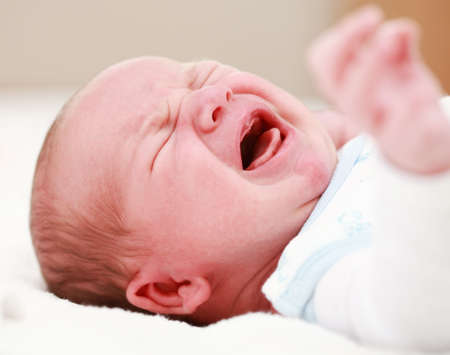 boy crying: Portrait of crying baby Stock Photo