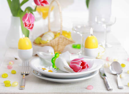 Place seeting for Easter in fresh colors photo