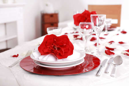 Place setting in red and white - for Valentine or other event Stock Photo - 6331622