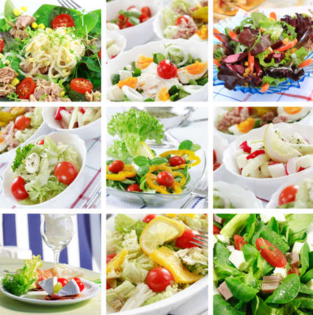 Different delicious vegetable and fruit salads Stock Photo