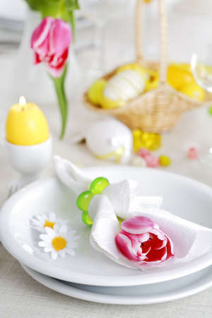 Place seeting for Easter in fresh colors Stock Photo