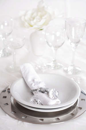 Place setting in silver and white  tone photo