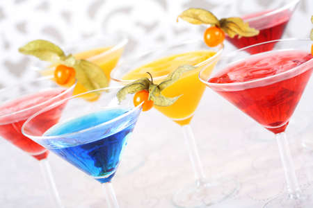 cocktails: Delicious cocktails garnished with fruits