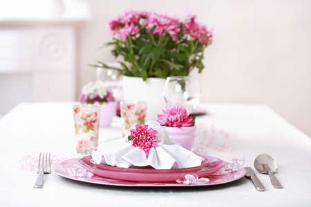 Place setting in violet and white - for Valentine or other event Stock Photo - 6555980