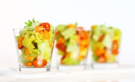 cuke: Three small vegetable salads served in glass for catering