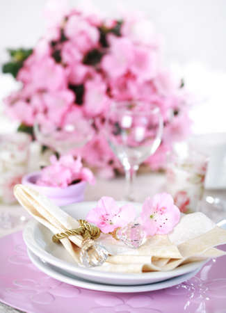 fine silver: Luxury place setting in pink and white