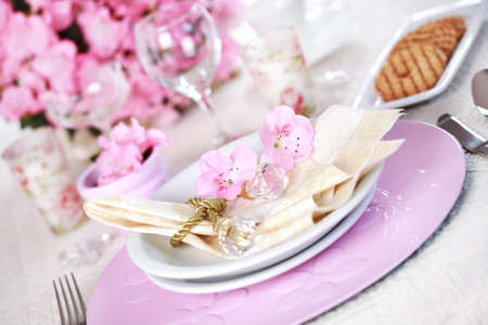 plate setting: Luxury place setting in pink and white