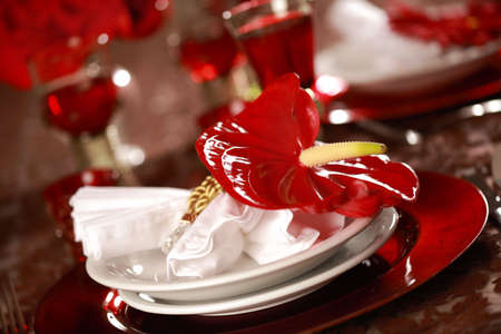Luxury place setting in red and white  for Christmas or other event Stock Photo - 6688555