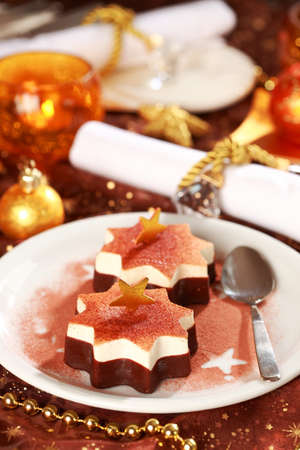 Christmas ice cream with chocolate and cinnamon  photo