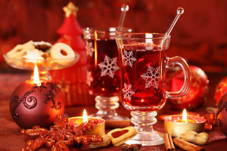 christmas drink: Hot drink for winter and Christmas with delicious cookies