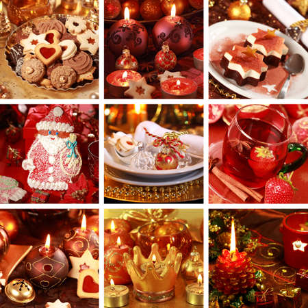 december: Collection of nine still live photos for Christmas in golden and red tone Stock Photo