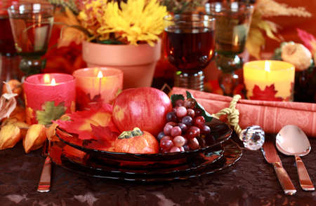 erntekorb: Tabelleneinstellung mit Herbst Dekoration f�r Thanksgiving