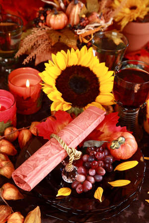 Table setting with autumn decoration for Thanksgiving photo
