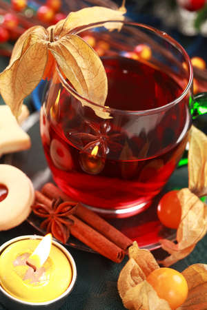 Hot drink for winter and Christmas with delicious cookies photo