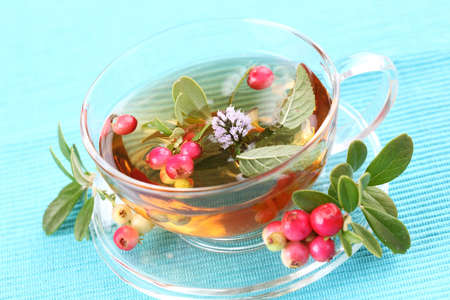 Vitality tea with lingonberry and mint (vitality berry) photo