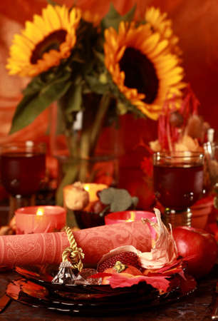 Table setting with autumn decoration for Thanksgiving Stock Photo - 7843589