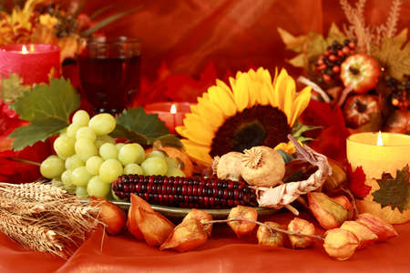Still life and harvest or table decoration for Thanksgiving photo