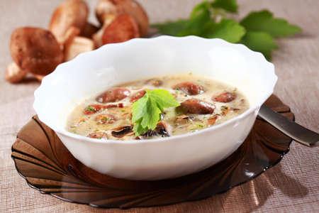 Mushroom soup with field mushroom (agaricus) and shiitake mushroom photo