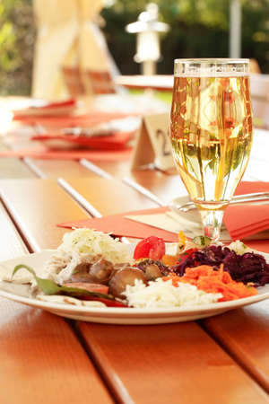 Table setting in outdoor restaurant