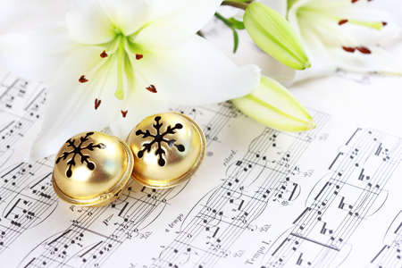 bell flower: Christmas still life with jingle bells and music notes