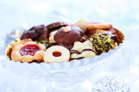 Still life with delicious Christmas gingerbread and cookies photo