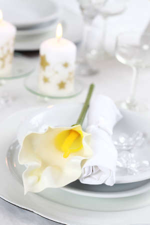 Luxury place setting in white  for Christmas or other event Stock Photo - 8036333