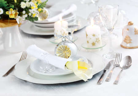 dinnerware: Luxury place setting in white  for Christmas or other event
