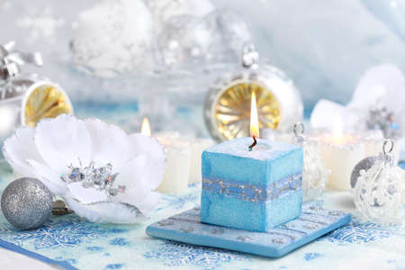 Christmas still life with candles and white and blue tone Stock Photo - 8094884